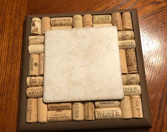 Trivet made of wood, cork, and tile