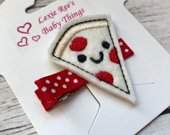 Pizza Hair Clip, Felt Hair Clip, Baby Hair Clips, Toddler Hair Clips, Pizza Toddler Clip, Toddler Barrette, Baby Barette