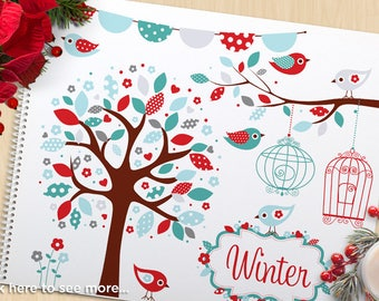 Clipart - Bohemian Bird Garden, winter tree, birds, bunting banners, frames, bird cages,  flowers, Commercial Use, Vector Clipart, SVG Cut