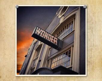 Portland Oregon Photograph | Wonder Ballroom | Sunset | Architecture | Vintage Sign Photo