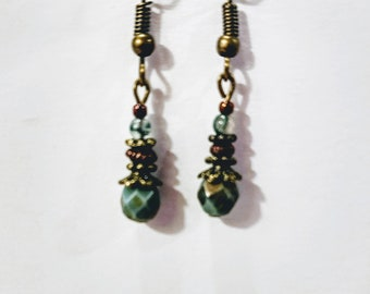 Sale!!  Green Czech earrings
