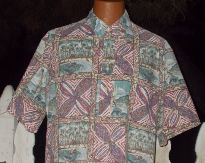 Vintage 90s 1994 Mele Kalikimaka Reyn Spooner Hawaiian Traditionals Cotton Blend Reverse Print Surfer Mens Short Sleeve Aloha Shirt