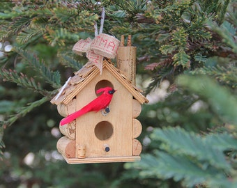 Small hanging birdhouse, Christmas ornament, wood and wine corks