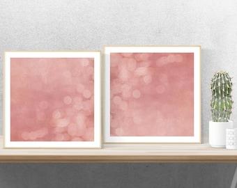 abstract art print, blush pink art, modern minimalist art, bohemian print set - Autumn Dream, photography art print set
