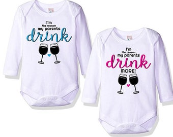 Twin Onesies/ I'm the reason my parents drink/ Matching Bodysuits/ Baby Shower Gift/ Twin Gifts/ Twin Humor/ Twin Presents/ Funny Twin Gift