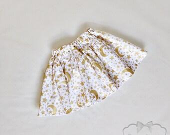 Moon and Stars Skirt - Girl Twirl Skirt - Gold Twirl Skirt - Infant Glitter Skirt - Tween White Gold Skirt - Toddler 6 month to Girl 16