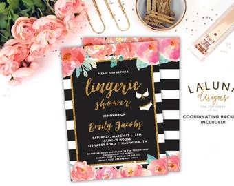 Lingerie Shower Invitation, Lingerie Shower, Lingerie Invitation, Bridal Shower Invitation, Bridal Shower Invites, Black White Stripe