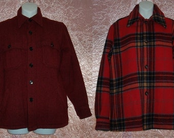 Vintage Mens Wool Plaid Shirt *Buy1get1FREE* Mountain Man Lumberjack Winter Jacket 100% Wool 60s Woolrich Red Hand Warming Pockets M/Medium