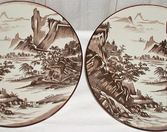 Pretty Brown and White Scene on Plates from Japan