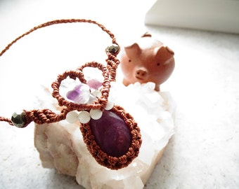 Ruby w/Fluorite,Moonstone & Pyrite Macrame Necklace, Bohemian,Hippie,Gypsy,Healing Stone,Valentine's,ルビー,マクラメネックレス,ジプシー,ヒッピー,ヒーリングストーン,天然石