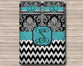 REVERSIBLE Personalized Monogram  Soft Duvet Cover OR Comforter - Toddler, Twin, Twin xl, Queen, or King - Damask Chevron