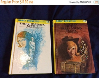 25%offJuneSale Nancy Drew Mystery stories  2 books 1970's Mystery of the Brass Bound Trunk and The Whispering Statue