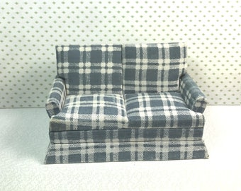 MINIATURE LOVE SEAT or Small Sofa, 1:12 Traditional Scale, Green Plaid Fabric, Vintage Dollhouse Furniture