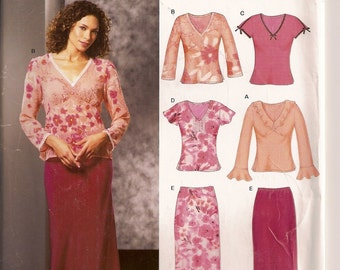 New Look 6294, Misses Clothing, V-Neck Tops, Misses Skirt, Sewing Pattern, Sizes 6 8 10 12 14 16, Peasant Style, Peplum Sleeve,Elastic Waist