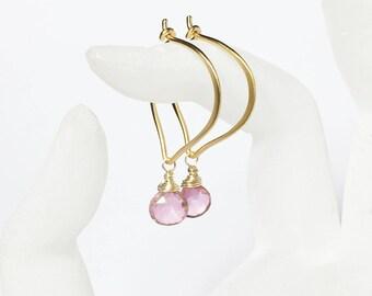 Pink Quarz Gold Hoop Earrings, Briolette Gemstones
