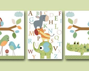 Canvas Owl Alphabet Nursery Alphabet Elephant Nursery Baby Nursery Decor Childrens Art Print Baby Nursery Prints set of 3 Crocodile Green /