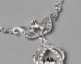 Crystal Wedding Jewelry Set, Rhinestone Bridal Jewelry Set, Silver Wedding Jewelry Set, Vintage Bridal Set, Rhinestone Jewelry ~JS-600