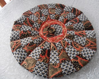 Japanese fabric black/red/gold patchwork placemat