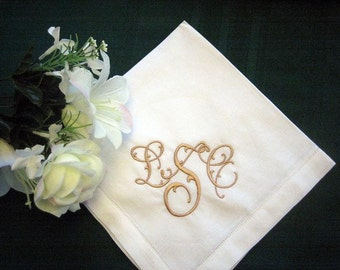 Personalized Napkins - Hemstitched Linen Dinner Napkin Set of 12 with FREE shipping in US 20in.
