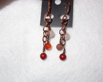 Copper, rose quartz and carnelian gemstone earrings.