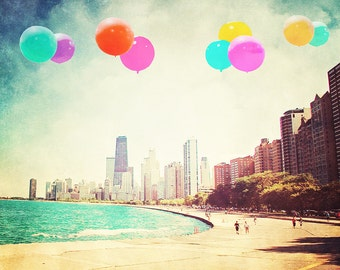 "Chicago - 8x10 photograph - ""Balloons over Chicago"" - fine art print - vintage photography - Chicago skyline - city artwork"