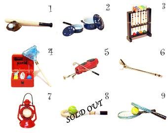SPORTS - Magical Faerie Trinket Chest, Fairy, Fay, OOAK, Miniatures, Golf, Tennis, Fishing, Fish, Baseball, Camping, Lantern, Ball, Croque,