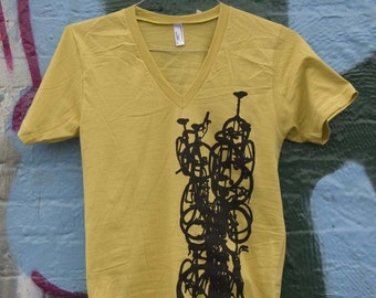 Bike Art  T Shirt - Bicycle Print Tee Shirt SALE  -  Vertical Bikestack  on Yellow T