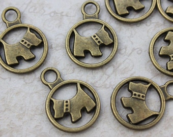10 Dog Charms Dog Pendants Antiqued Bronze Tone Double Sided  15 mm