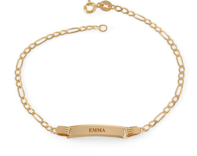 """Ladies 9ct Yellow Gold 7"""" Figaro Chain ID Bracelet - Personalised Engraved Name"""
