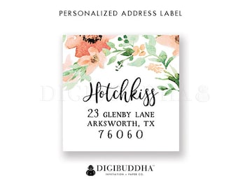 Custom Address Labels Floral Custom Return Address Labels Floral Watercolor Label Printable Return Address Label DIY or Printed- Kaylee