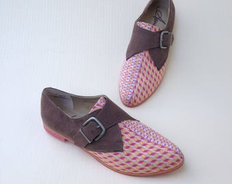 Women's Oxford Shoes, Monk Strap Shoes, Brown and Pink Shoes,