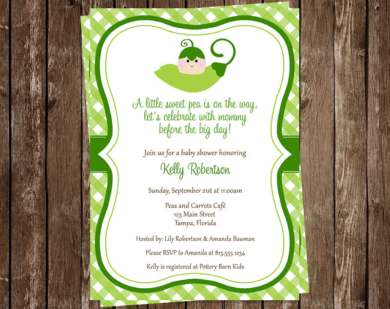 Sweet Pea Baby Shower Invitations Gingham Green Plaid