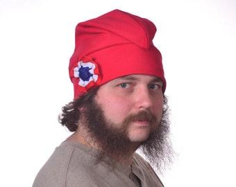 Red Liberty Hat Cotton Phrygian Cap with Red White and Blue Cockade Hat Unisex Adult Men Women Hat Bonnet Rouge Bastille Day Revolution Hat