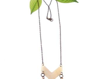 Double Brass Chevron Necklace