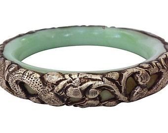 Silver Snake & Jade Asian  Bangle