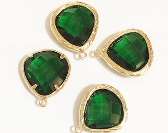 4 glass faceted teardrop pendant with Gold frame, Green glass drops 17x15mm, framed glass teardrops