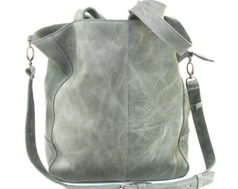 Gray leather bag - Sale !!!!!! Italian leather shoulder bag free shipping