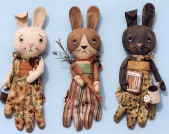 A Primitive PATTERN Garden Glove Bunnies
