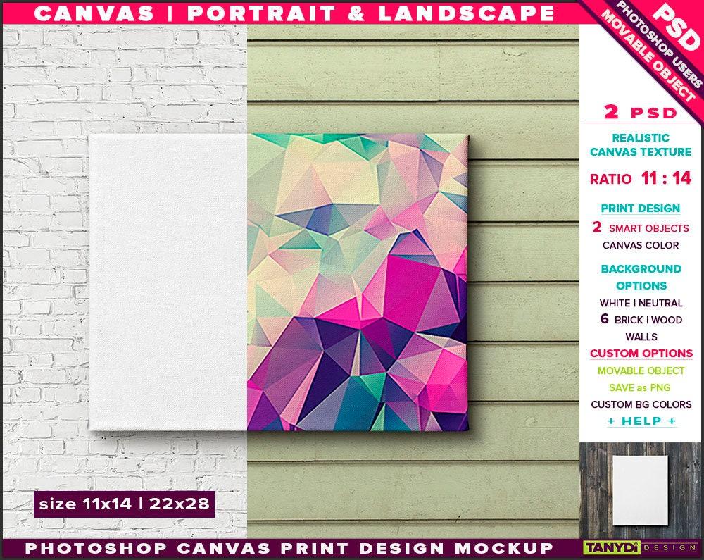 Leinwand auf Wand Photoshop Print Mockup C1114-W 11 x 14