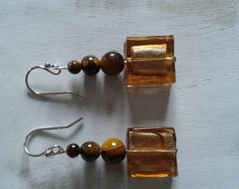 Tiger Œil, 925 sterling silver and Lampwork earrings