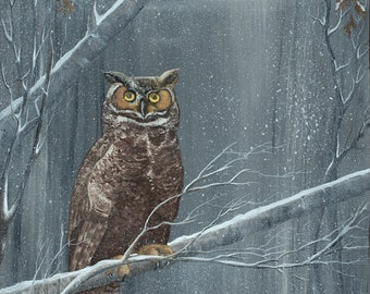 Horned Owl in Snow