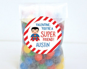 Valentine's Day Stickers - Superman - Valentine, You're a SUPER Friend! - Sheet of 12 or 24