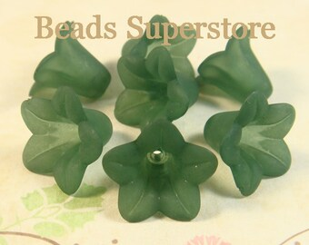 FINAL SALE 18 mm x 12 mm Teal Lucite Flower Bead - 10 pcs