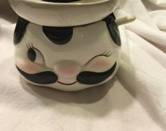 Vintage Pottery Mustard Jar With Spoon, cute fellow with handlebar mustache