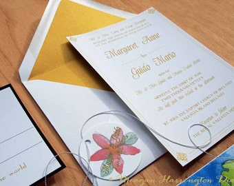 Hand Painted Wedding Invitation With Custom Calligraphy Guest Addressing In  Gold Ink   Custom Wedding Invitations   Ireland Wedding