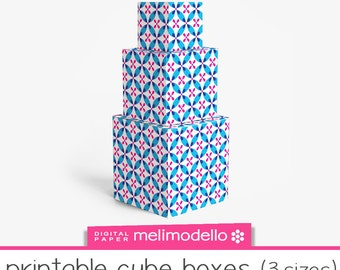 """Small Printable cube shape boxes """"Angèle"""" blue, 3 sizes, download, Angele"""