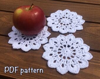 crochet coaster pattern coaster crochet pattern cotton coaster pattern small doily pattern DIY coaster pattern cotton coaster pattern easy