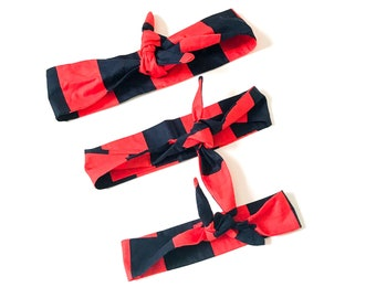 Rockabilly headwrap - Mommy and me Headband - red and black Headband - Rosie wrap - 50's style Headband - Head wrap - woman headwrap - red h