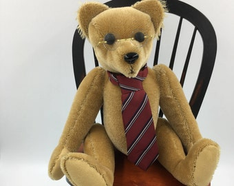 Teddy Bear, Mohair, Old Fashioned, Fully Jointed, One of a Kind, Collectible, Full of Character, Keepsake, Vintage, Tan, For the bear lover!