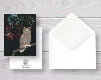 Owl Card-Great Horned Owl-Celebration Card-Owl Art-Fireworks-Fourth of July-Forest Card-Woodland Card-Woodland Art-Forest Animal